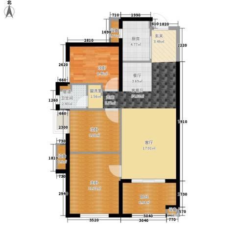 万科广场3室1厅1卫1厨92.00㎡户型图