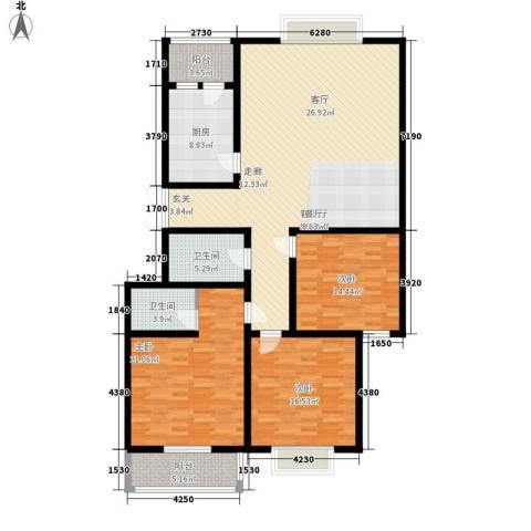 紫郡长安3室1厅2卫1厨150.00㎡户型图