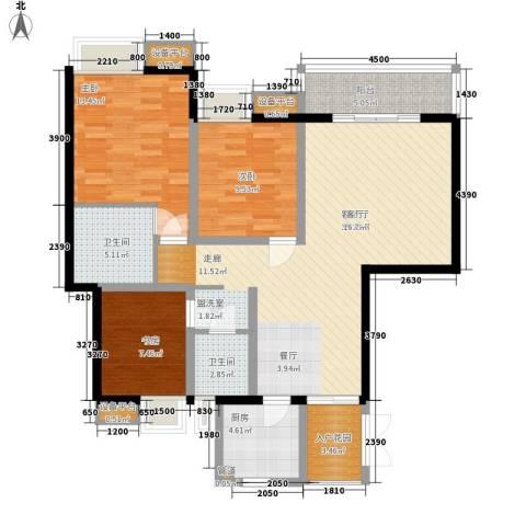义和故事水云涧3室1厅2卫1厨130.00㎡户型图