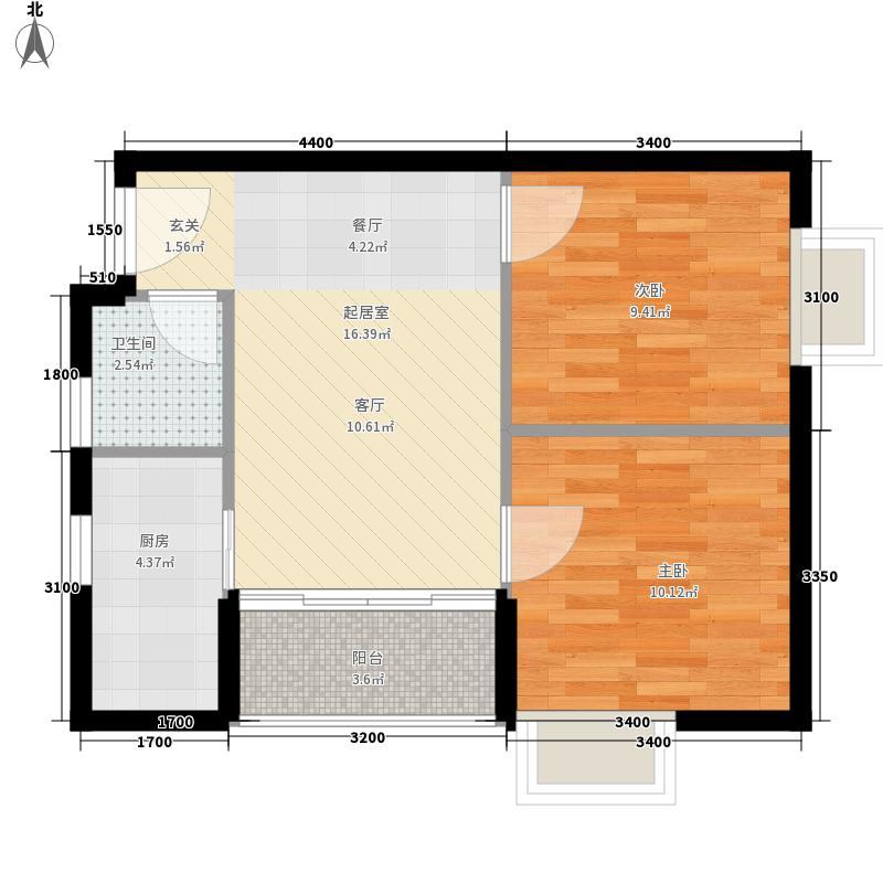 红桂皇冠户型图21号 2室2厅1卫1厨