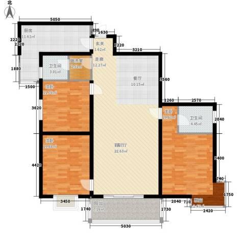 紫郡长安3室1厅2卫1厨139.00㎡户型图