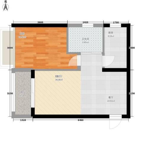 祥源汇博名座1室1厅1卫1厨61.00㎡户型图