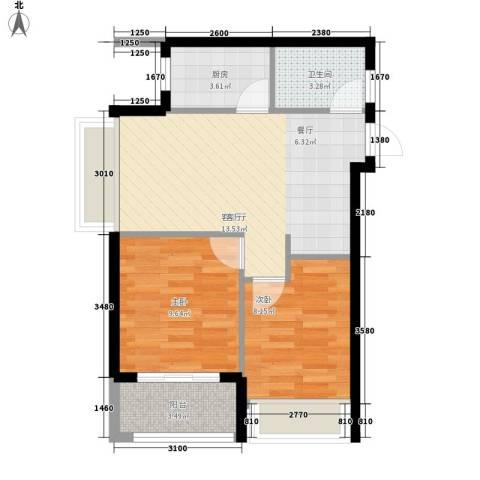 祥源汇博名座2室1厅1卫1厨64.00㎡户型图