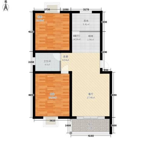 望馨花苑2室1厅1卫1厨88.00㎡户型图