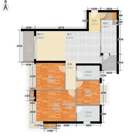 富庄庭3室1厅2卫1厨108.00㎡户型图