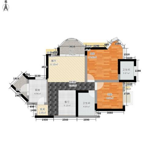 天工太阳岛2室1厅2卫1厨76.00㎡户型图