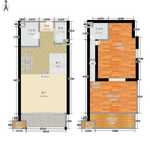 鄂州豪威城市广场1室0厅2卫1厨79.00㎡户型图