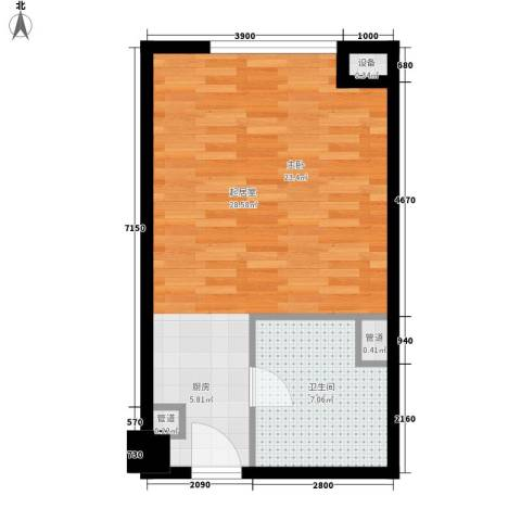 无锡惠山万达广场1卫0厨42.00㎡户型图