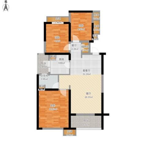 海伦春天3室1厅1卫1厨129.00㎡户型图