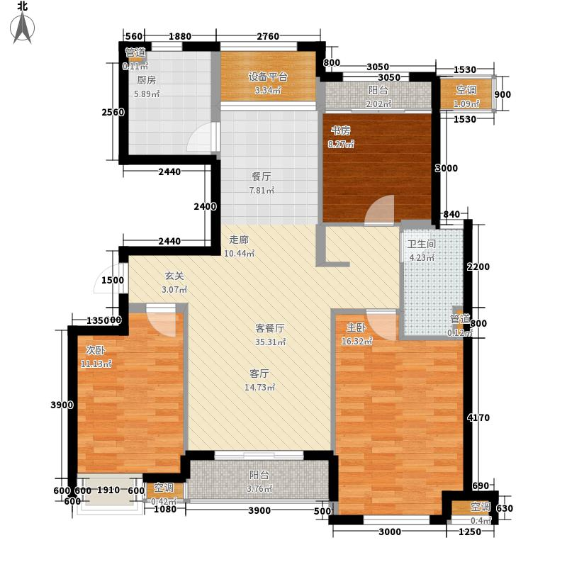 广厦天都城爵士花园123.33㎡I户型3室2厅1卫1厨