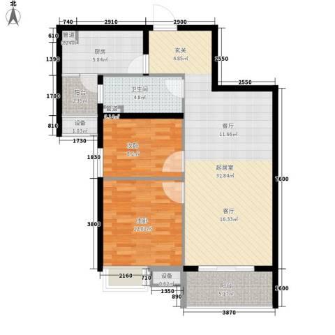 无锡惠山万达广场2室0厅1卫1厨86.00㎡户型图