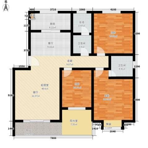 福郡雅居3室0厅2卫1厨132.00㎡户型图