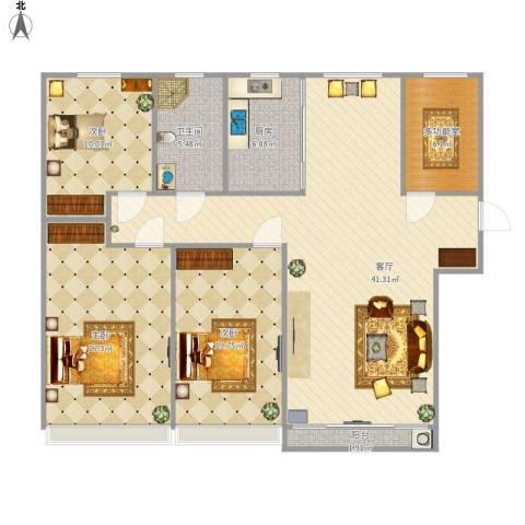 魅力熙郡3室1厅1卫1厨137.00㎡户型图