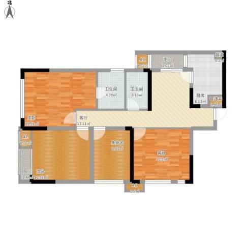 北城国际中心3室1厅2卫1厨127.00㎡户型图