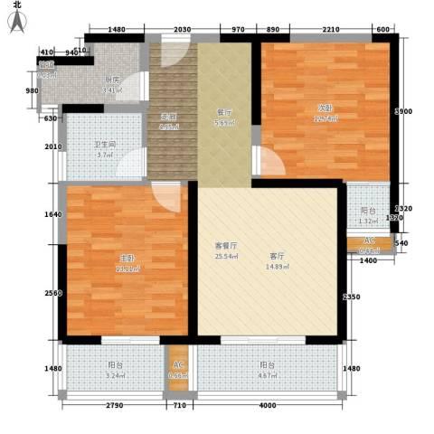 亿龙金河湾2室1厅1卫1厨100.00㎡户型图