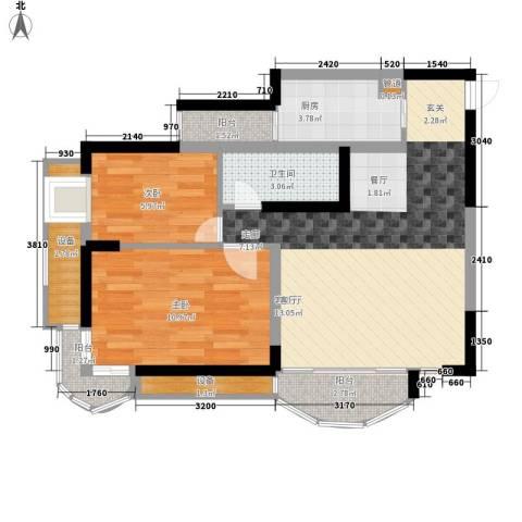 天工太阳岛2室1厅1卫1厨65.00㎡户型图