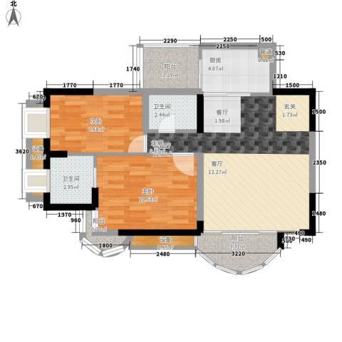 天工太阳岛2室1厅2卫1厨71.00㎡户型图