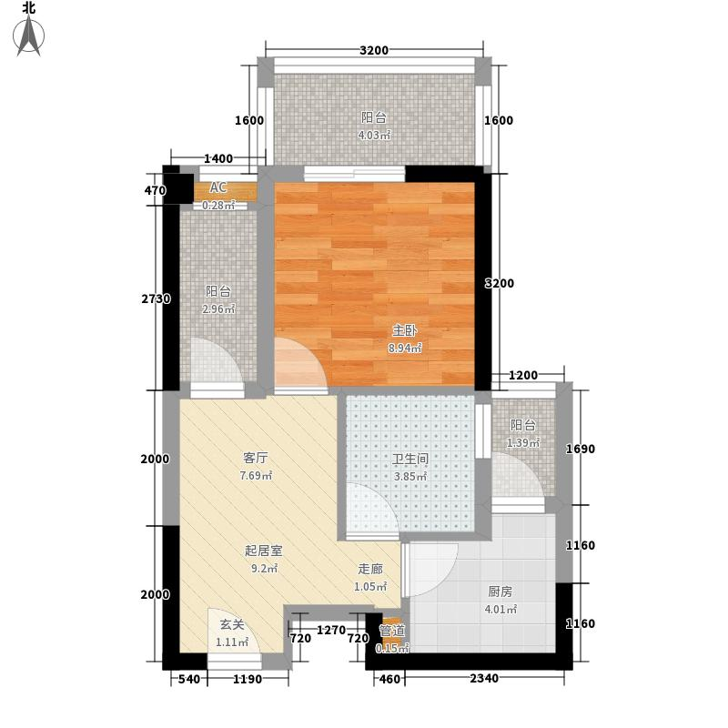兰庭华府6.00㎡标准层B户型1室1厅1卫1厨