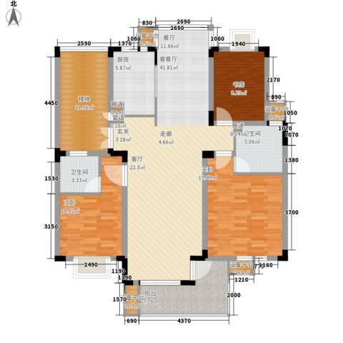 嘉业・阳光城3室1厅2卫1厨118.00㎡户型图