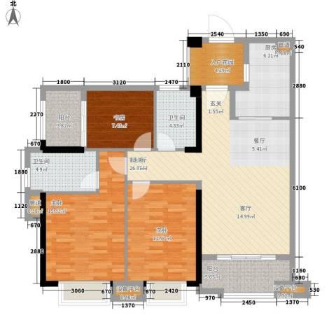 万科广场3室1厅2卫1厨109.00㎡户型图
