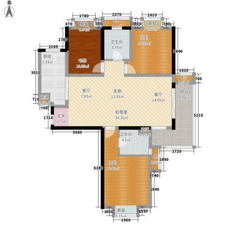 汉城国际3室0厅2卫1厨121.00㎡户型图
