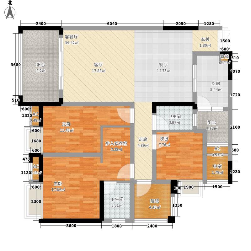 国际社区江御6号楼标准层A户型3室2厅
