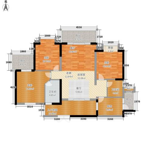 金鸡岭花园山庄3室0厅2卫1厨125.00㎡户型图