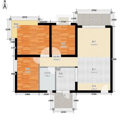 风筝恋雅舍3室0厅1卫1厨106.00㎡户型图
