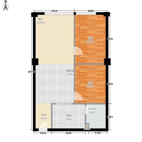 风筝恋雅舍2室0厅1卫1厨72.00㎡户型图