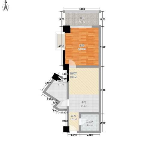 天骄国际1室1厅1卫1厨56.24㎡户型图