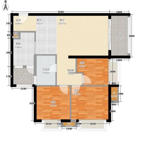 富庄庭3室1厅1卫1厨93.00㎡户型图
