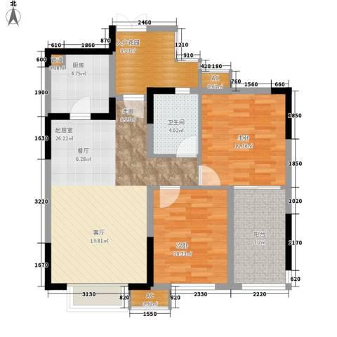 中海翠屏湾2室0厅1卫1厨82.00㎡户型图