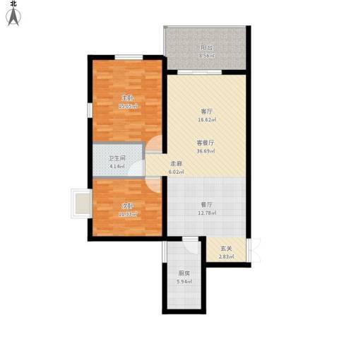 四季美景香樟雅郡2室1厅1卫1厨113.00㎡户型图