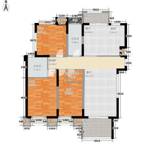金鼎名城3室2厅2卫0厨122.00㎡户型图