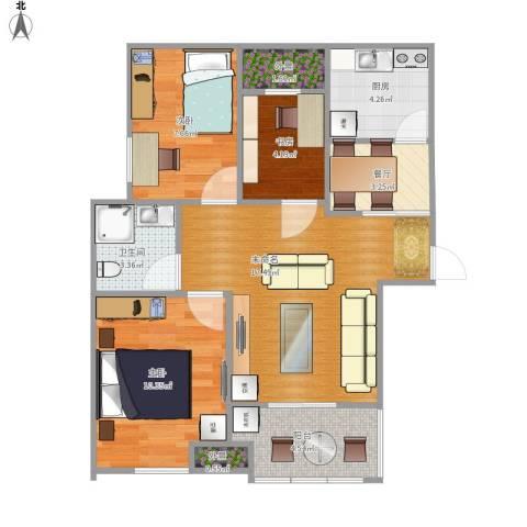 新城香悦半岛3室1厅1卫1厨79.00㎡户型图