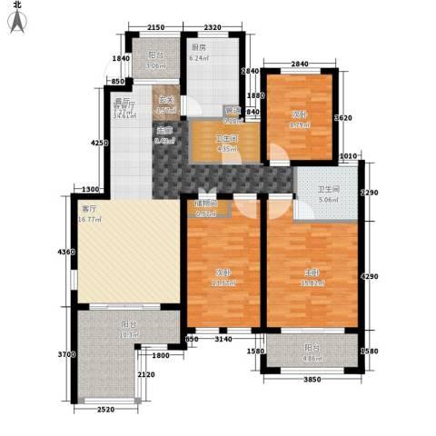 星河蓝湾3室1厅2卫1厨124.00㎡户型图
