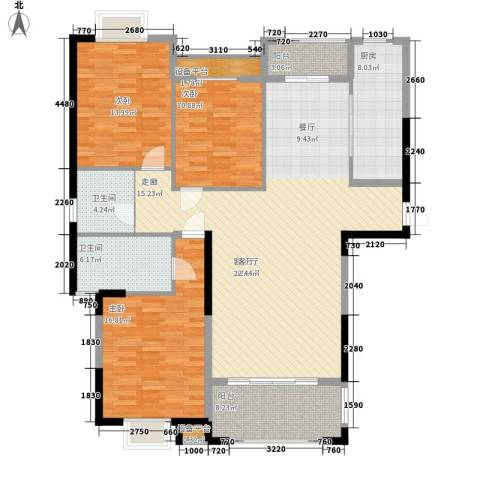 金鼎名城3室1厅2卫1厨130.00㎡户型图