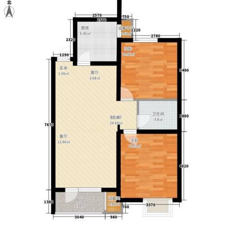 康城・瑞河兰乔2室1厅1卫1厨94.00㎡户型图