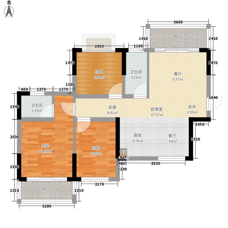 洪恩花园88.45㎡A1/F1户型3室2厅2卫1厨