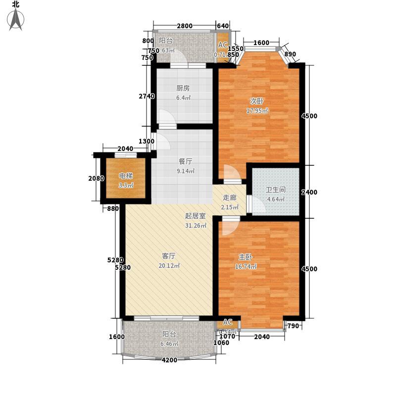 原景晓筑107.68㎡户型2室2厅1卫1厨