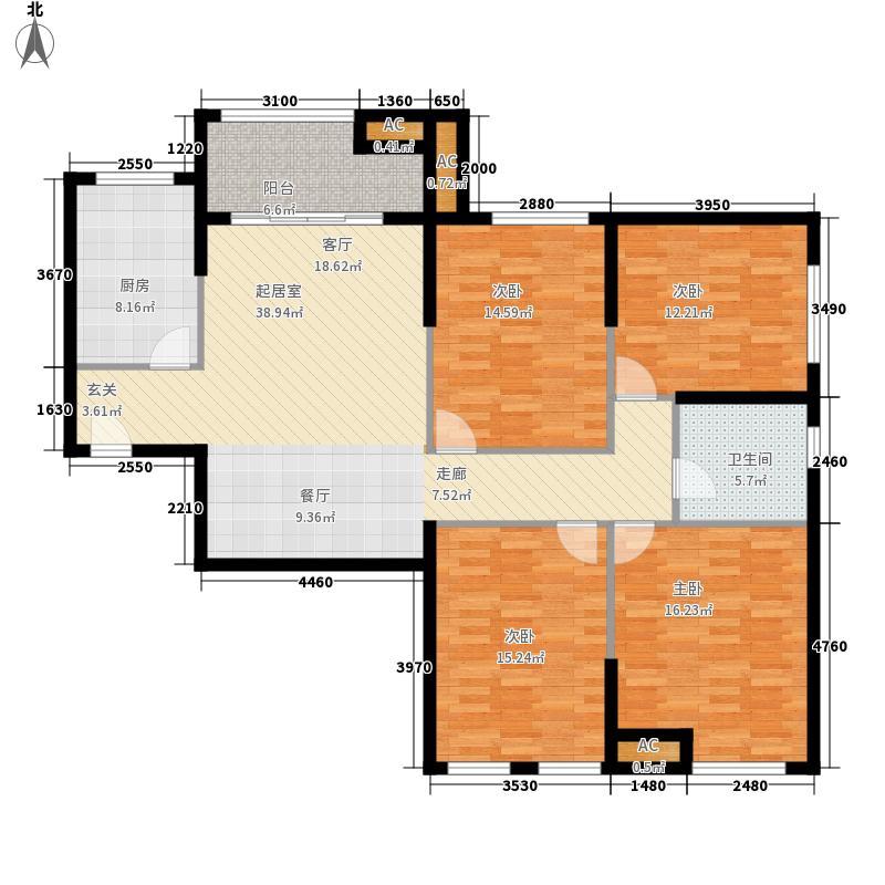 熙悦春天134.41㎡2#、3#楼C1户型3室2厅1卫1厨
