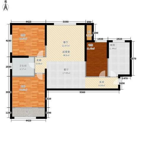 熙悦春天3室0厅1卫1厨117.30㎡户型图