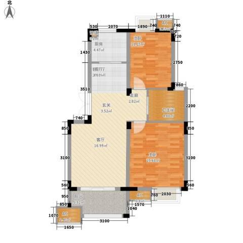 奥体新城丹枫园2室1厅1卫1厨95.00㎡户型图