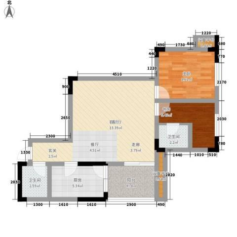 蔚蓝时光2室1厅2卫1厨65.00㎡户型图