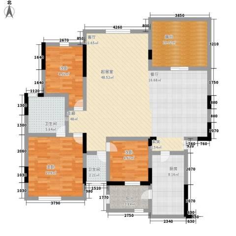 中惠沁林山庄3室0厅2卫1厨123.00㎡户型图