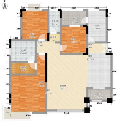中惠沁林山庄3室0厅2卫1厨130.00㎡户型图