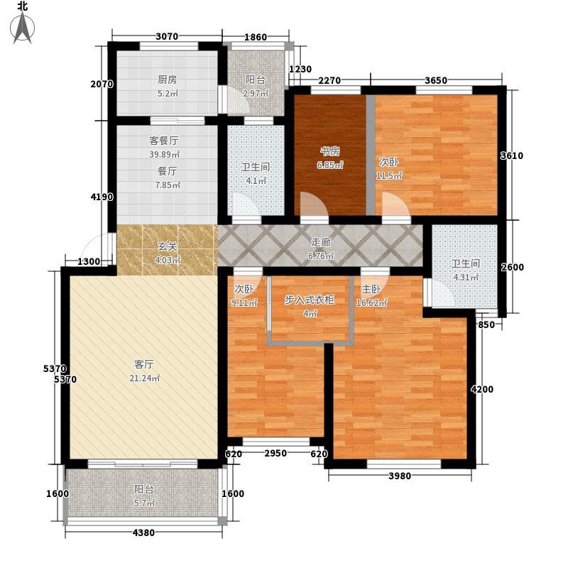大学路3号院户型3室2厅1卫1厨