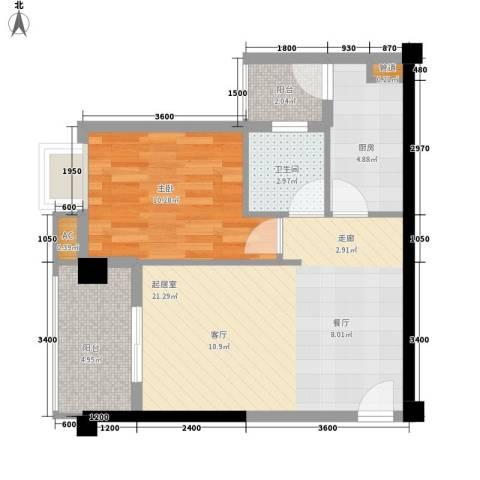 山水华景1室0厅1卫1厨61.00㎡户型图