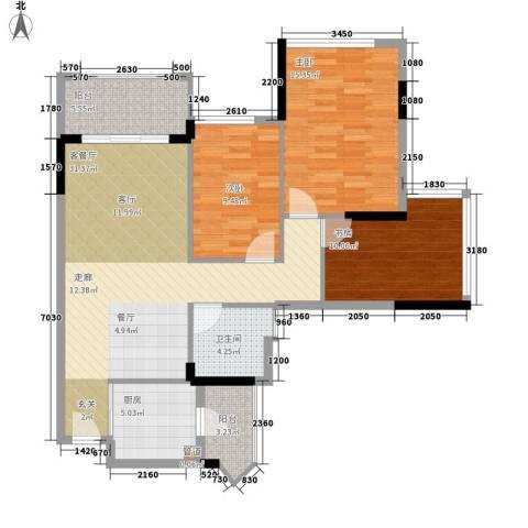 雅居乐城南源著3室1厅1卫1厨95.00㎡户型图