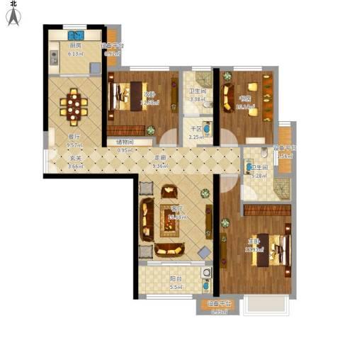 融侨华府3室1厅2卫1厨154.00㎡户型图